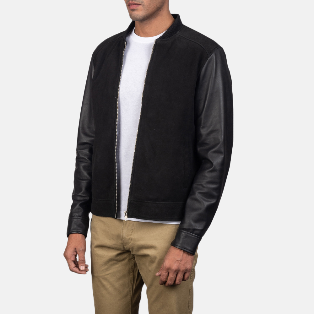 Men's Blain Black Hybrid Bomber Jacket 3