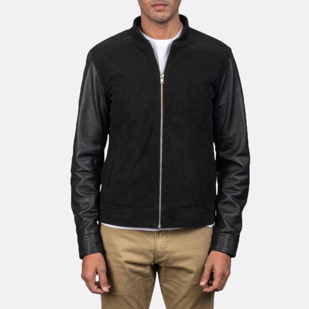 Men's Blain Black Hybrid Bomber Jacket 4