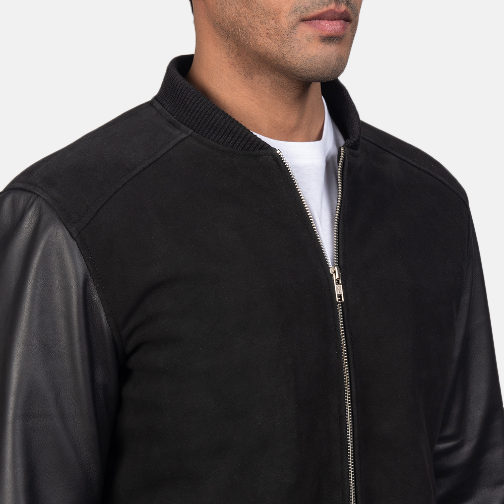 Men's Blain Black Hybrid Bomber Jacket 6
