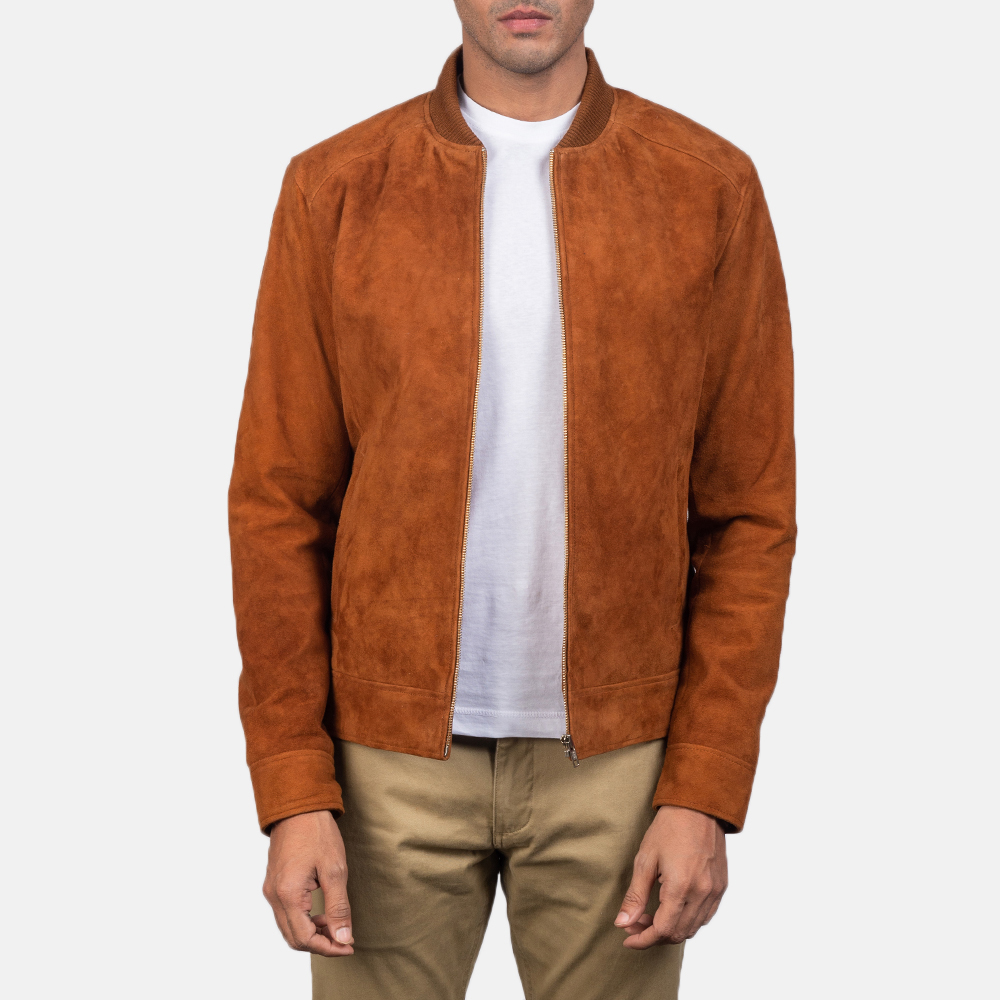 Men's Blain Brown Suede Bomber Jacket 2