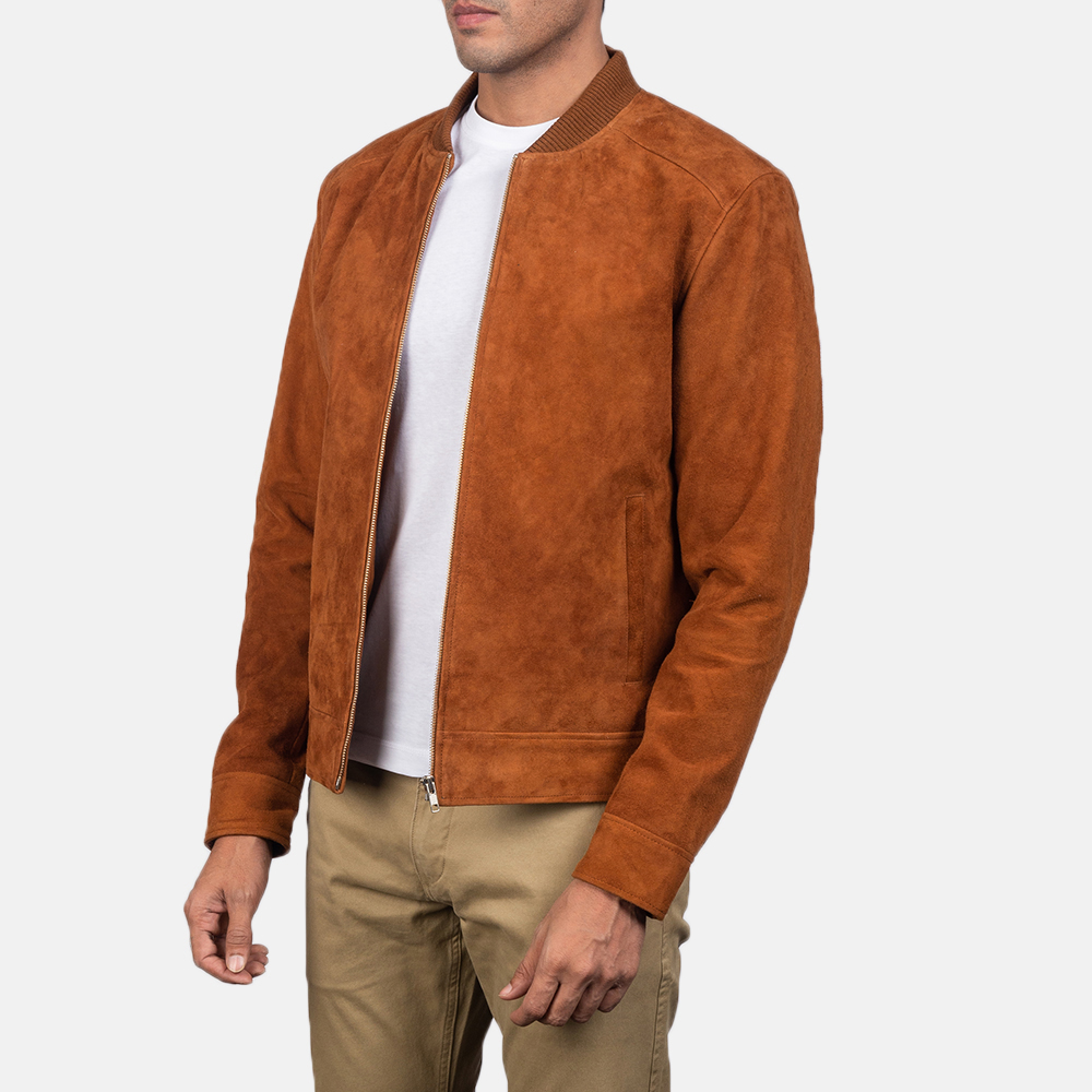 Men's Blain Brown Suede Bomber Jacket 3