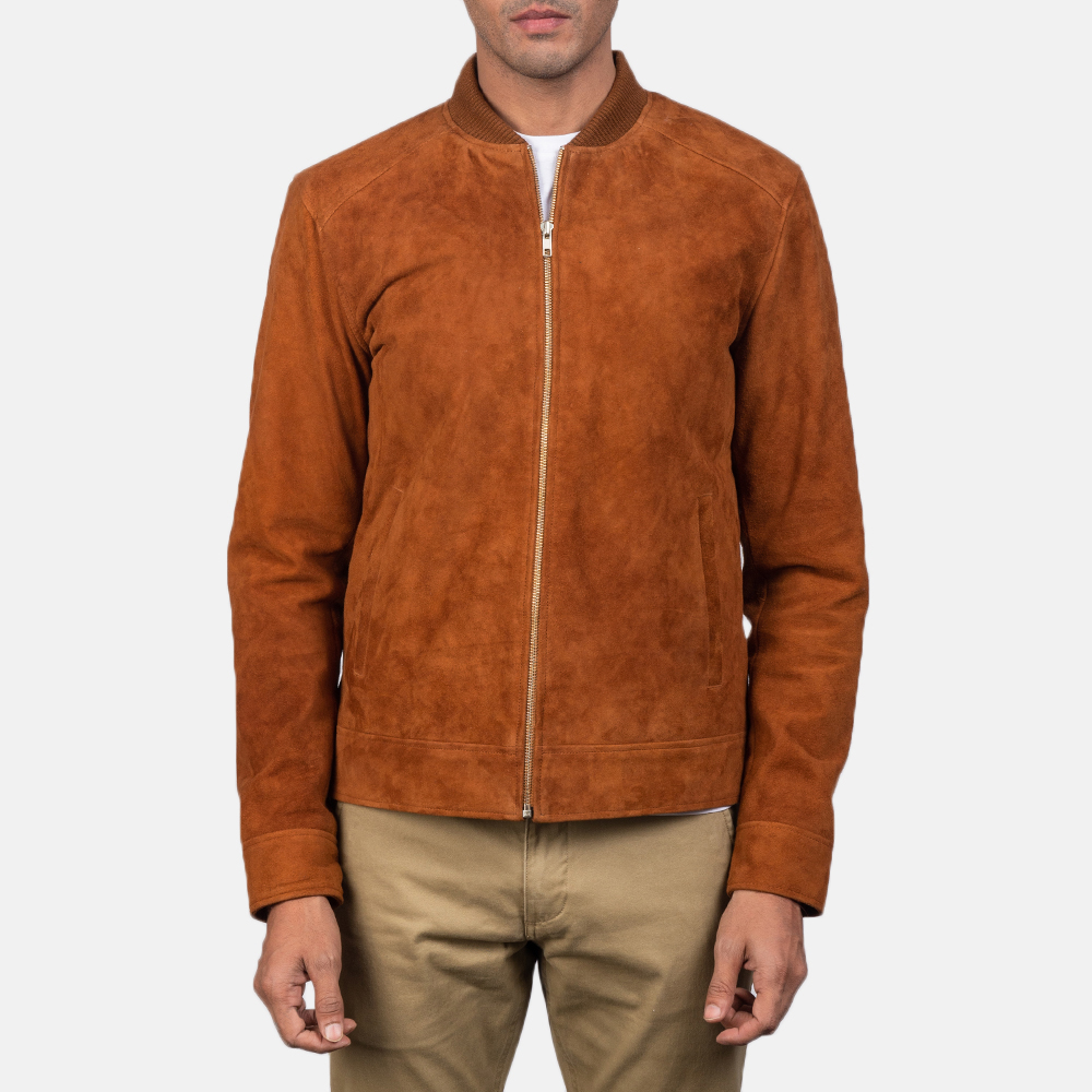 Men's Blain Brown Suede Bomber Jacket 4