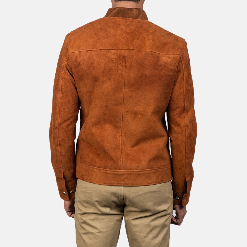 Men's Blain Brown Suede Bomber Jacket 5