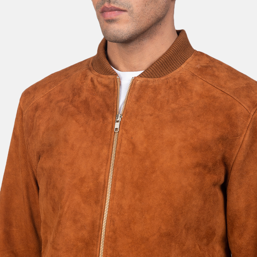 Men's Blain Brown Suede Bomber Jacket 6