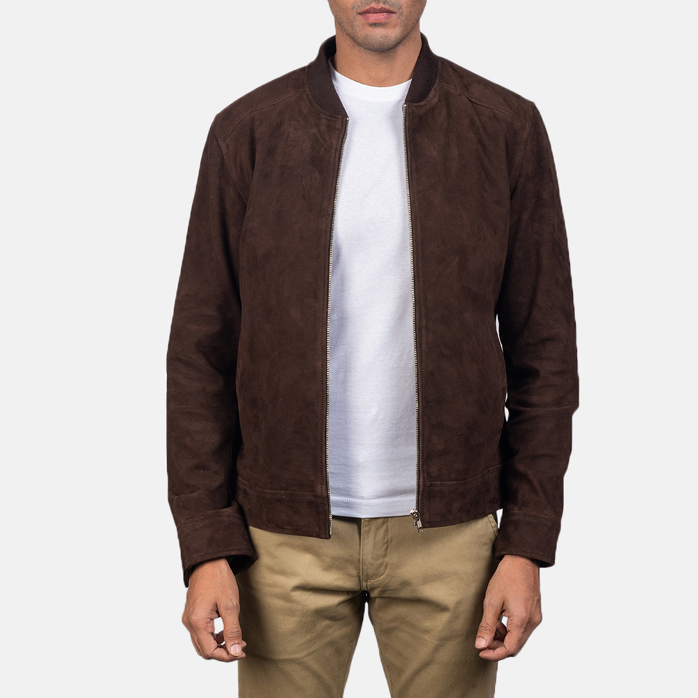 Men's Blain Mocha Brown Suede Bomber Jacket 2