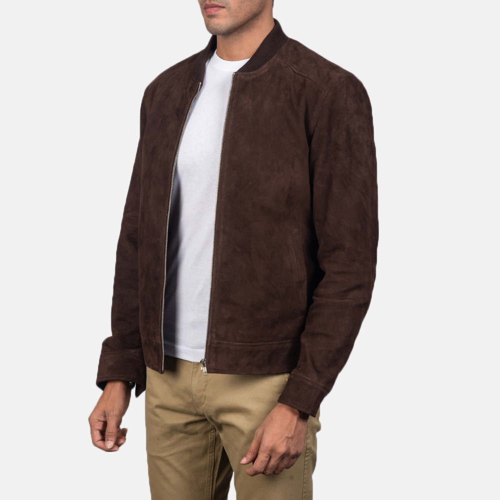 Men's Blain Mocha Brown Suede Bomber Jacket 3