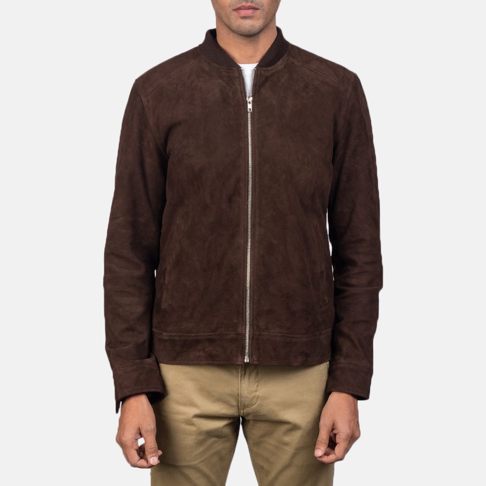 Men's Blain Mocha Brown Suede Bomber Jacket 4