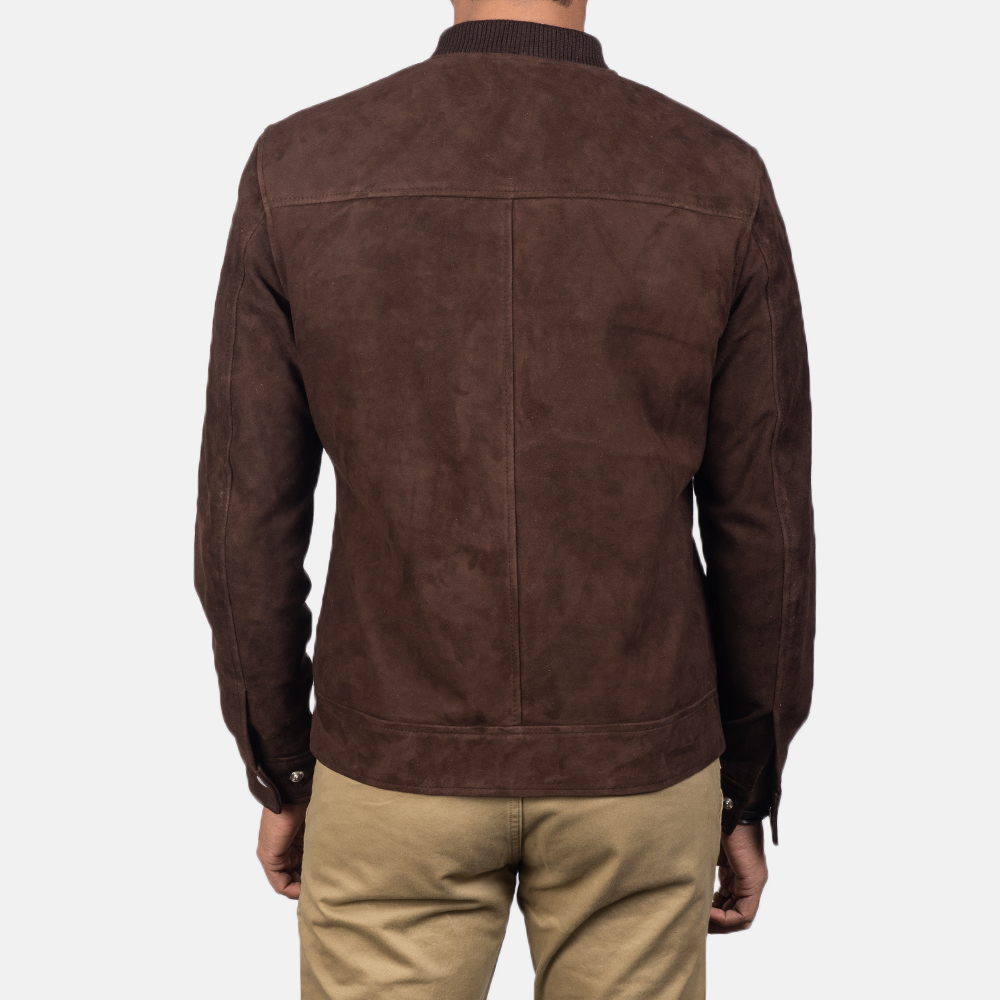 Men's Blain Mocha Brown Suede Bomber Jacket 5