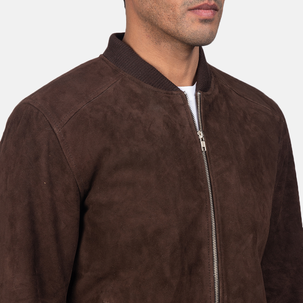 Men's Blain Mocha Brown Suede Bomber Jacket 6
