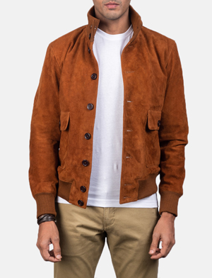 Button front brown suede bomber jacket for men  15505826918506 1 1558356979572