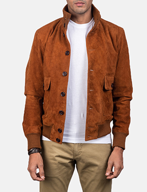 Button front brown suede bomber jacket for men  1550582691856