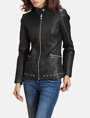 Haley Ray Black Leather Biker Jacket