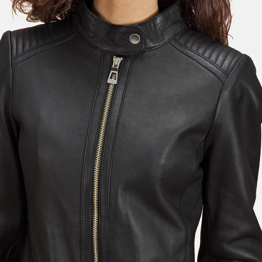 Womens Haley Ray Black Leather Biker Jacket 4