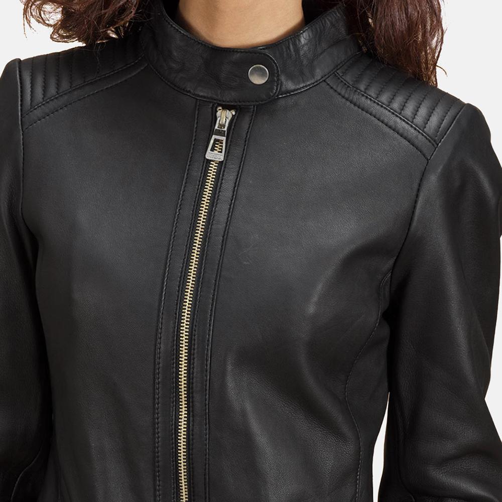 Womens Haley Ray Black Leather Biker Jacket 4