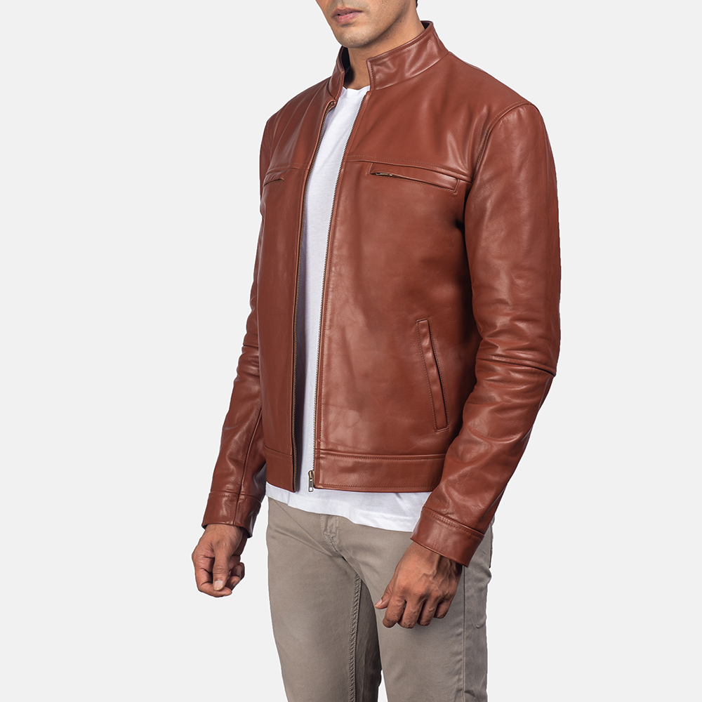 Mens Chang Tan Leather Biker Jacket 2