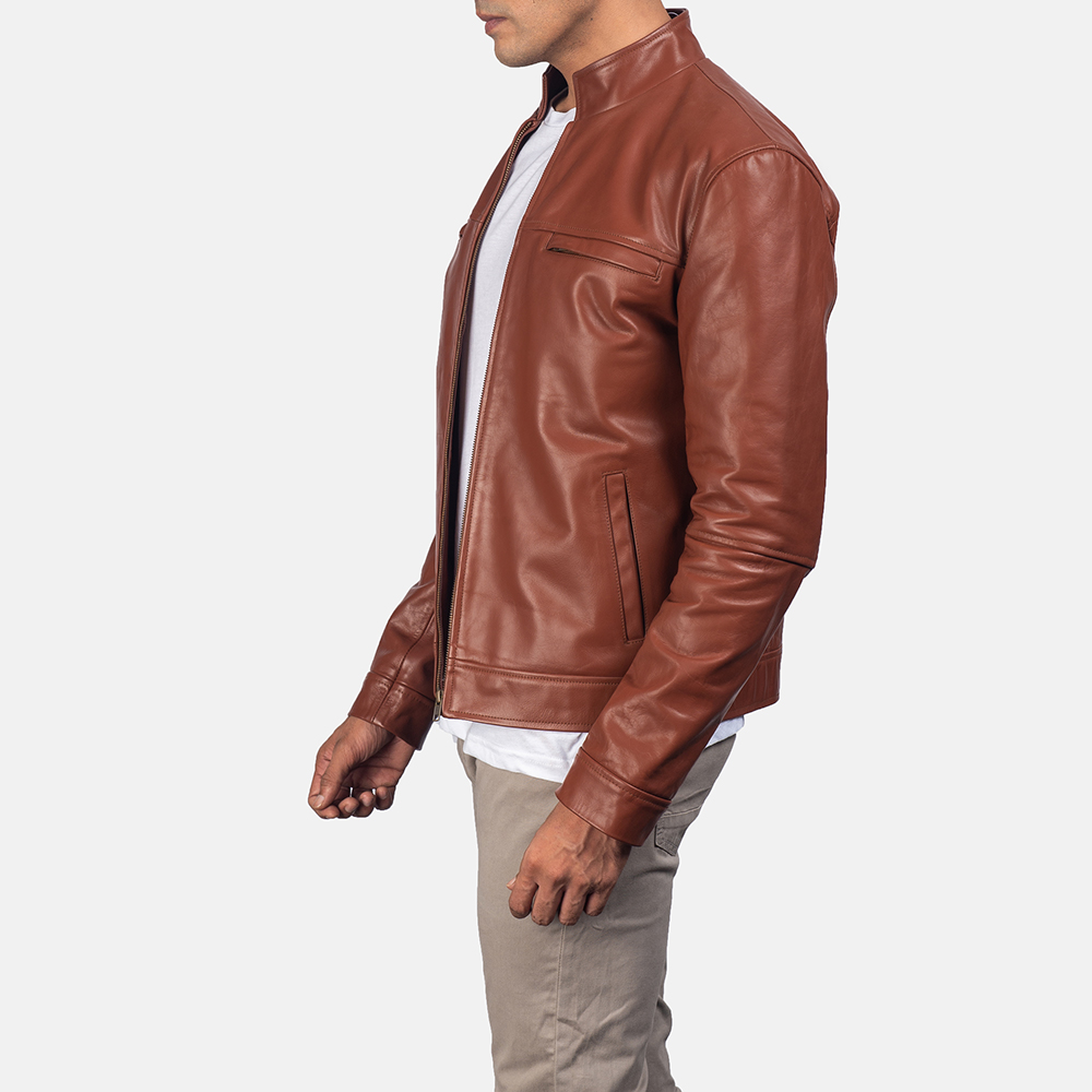 Mens Chang Tan Leather Biker Jacket 3