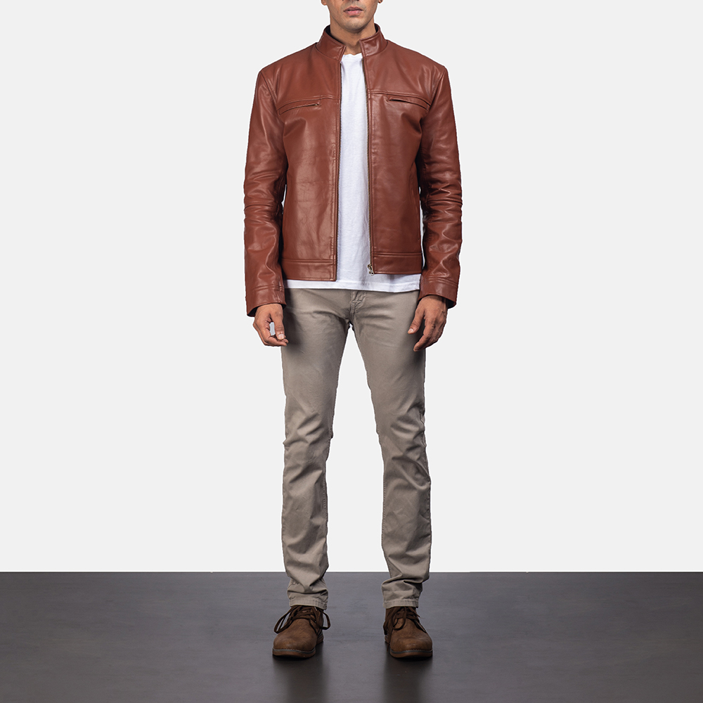 Mens Chang Tan Leather Biker Jacket 5