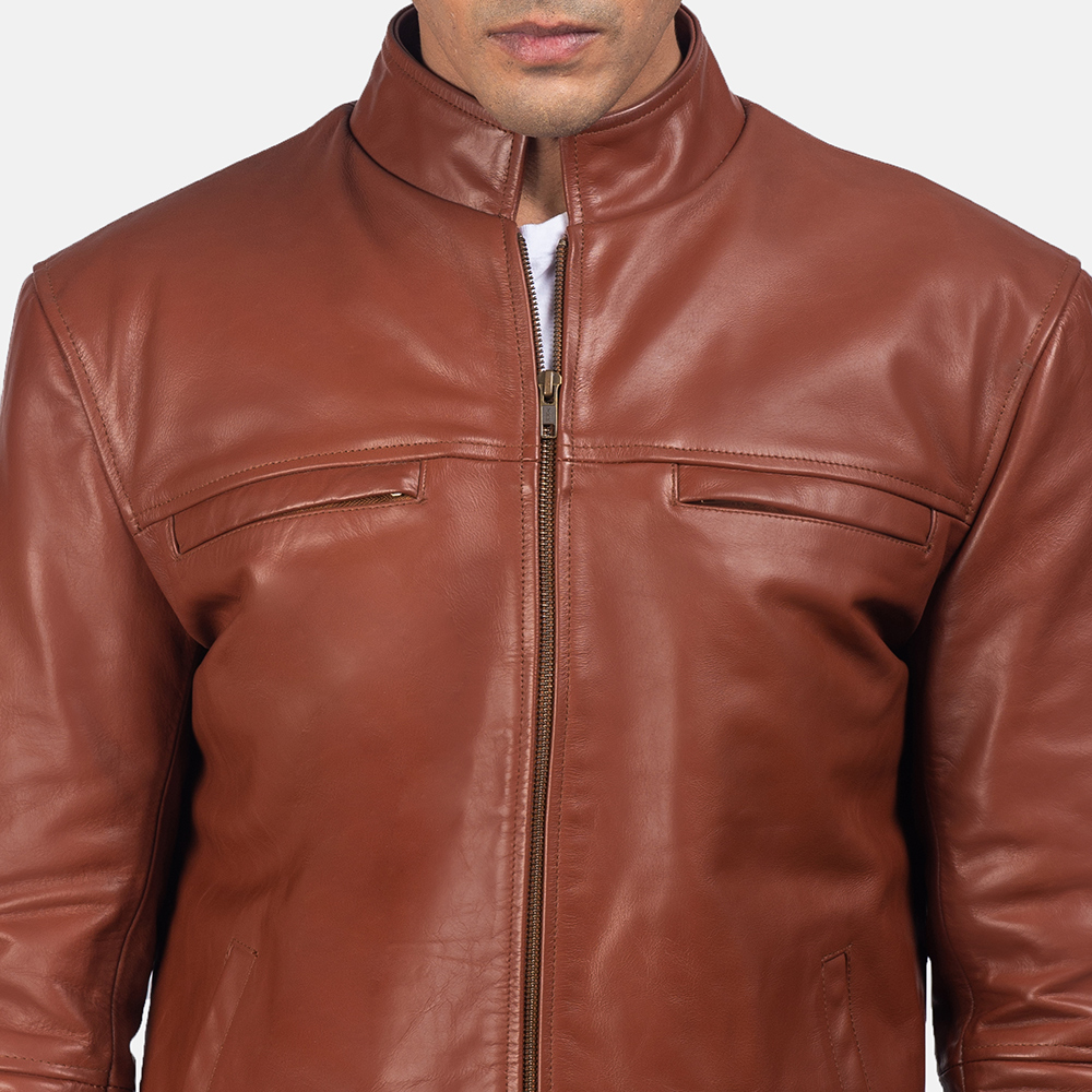 Mens Chang Tan Leather Biker Jacket 6