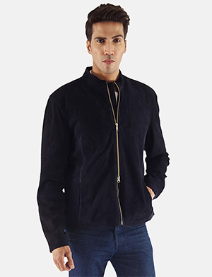 Men's Charcoal Navy Blue Suede Biker Jacket