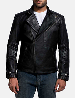 Mens Raiden Black Leather Biker Jacket