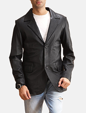 Mens Alyson Black Leather Blazer