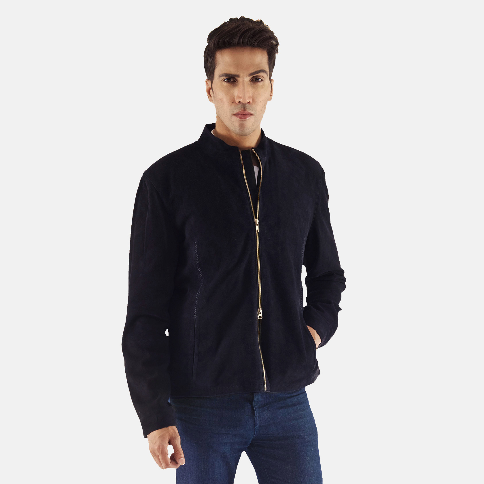 Men's Charcoal Navy Blue Suede Biker Jacket 1