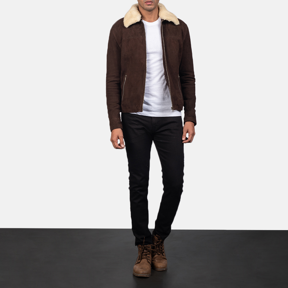 Mens Coffner Brown Shearling Fur Jacket 1