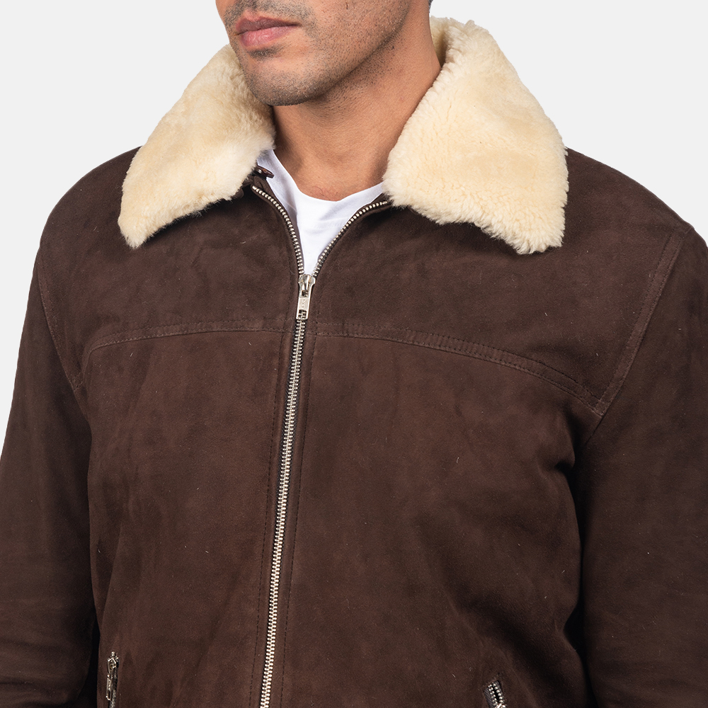 Mens Coffner Brown Shearling Fur Jacket 6
