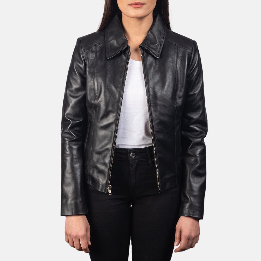 Women Colette Black Leather Jacket 3