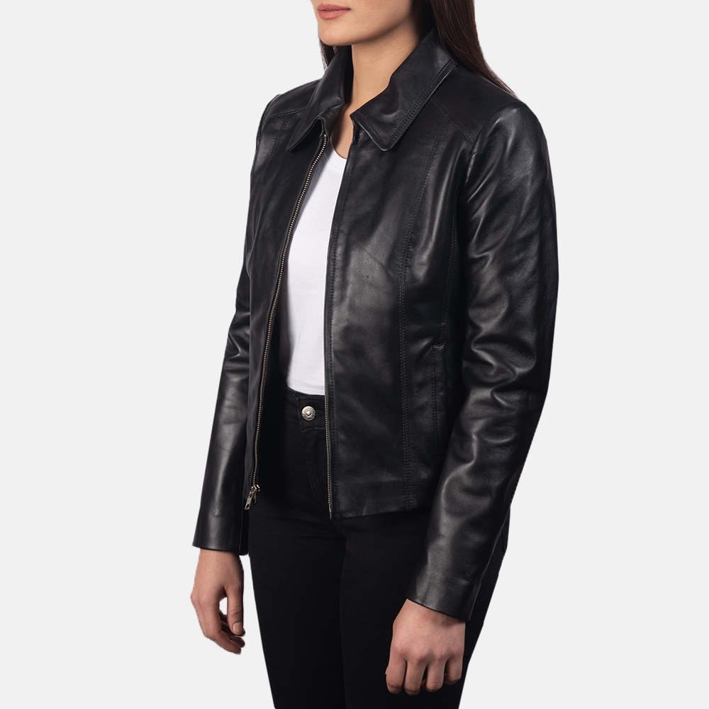 Women Colette Black Leather Jacket 2
