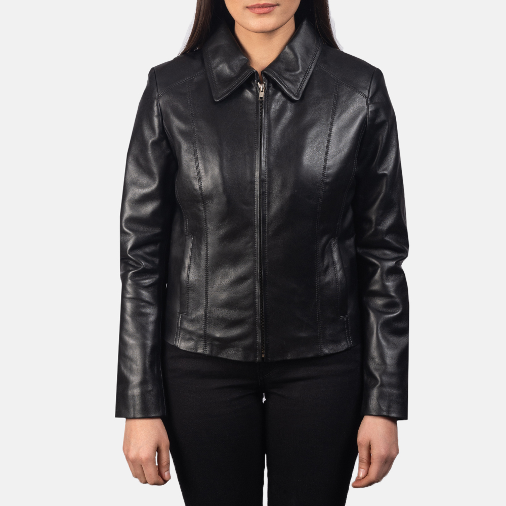 Women Colette Black Leather Jacket 4