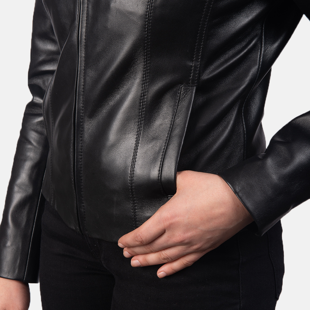 Women Colette Black Leather Jacket 6