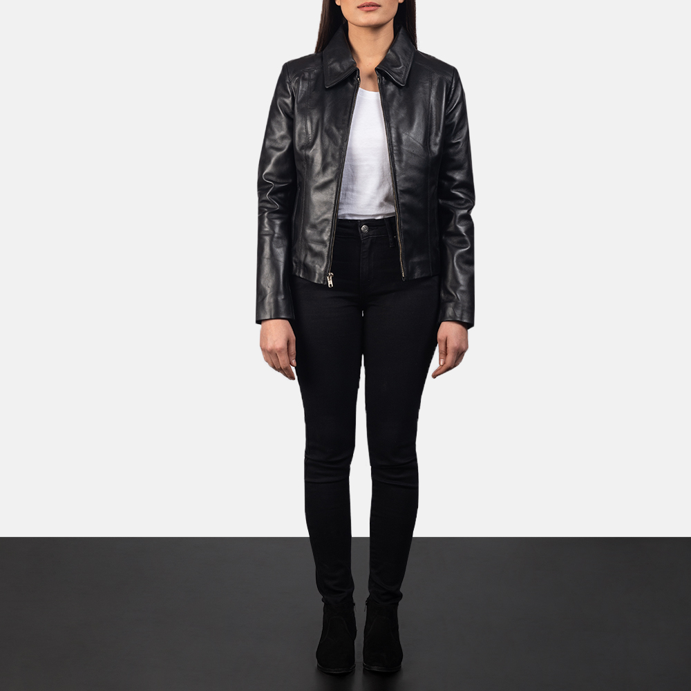 Women Colette Black Leather Jacket 1
