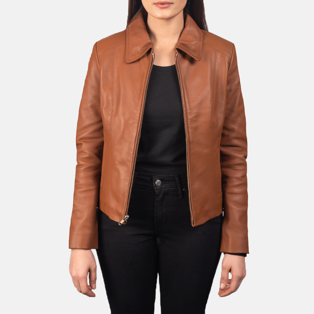 Women Colette Brown Leather Jacket 3