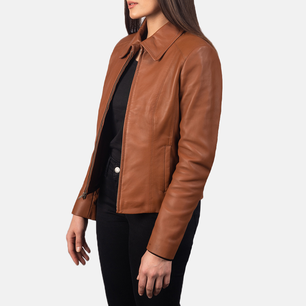 Women Colette Brown Leather Jacket 2