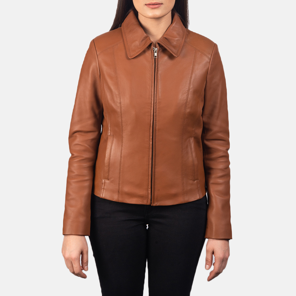 Women Colette Brown Leather Jacket 4