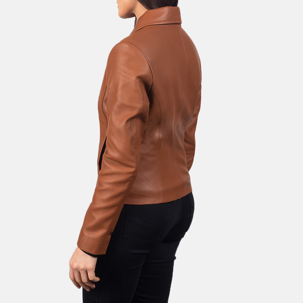 Women Colette Brown Leather Jacket 5
