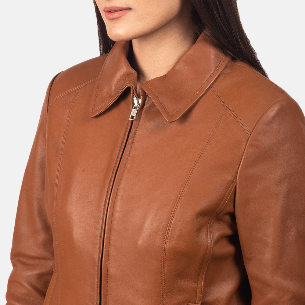 Women Colette Brown Leather Jacket 6