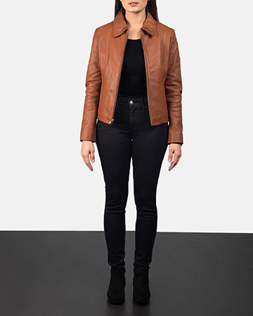 Women Colette Brown Leather Jacket 1