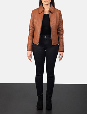 Women Colette Brown Leather Jacket