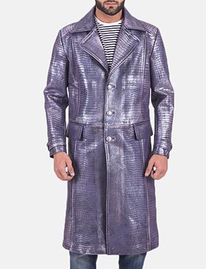 Mens Crocodile Purple Leather Coat 1