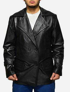Mens Vegas Black Leather Coat 1