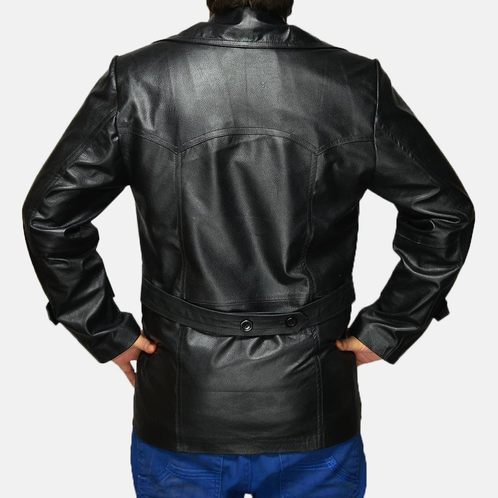 Mens Vegas Black Leather Coat 4