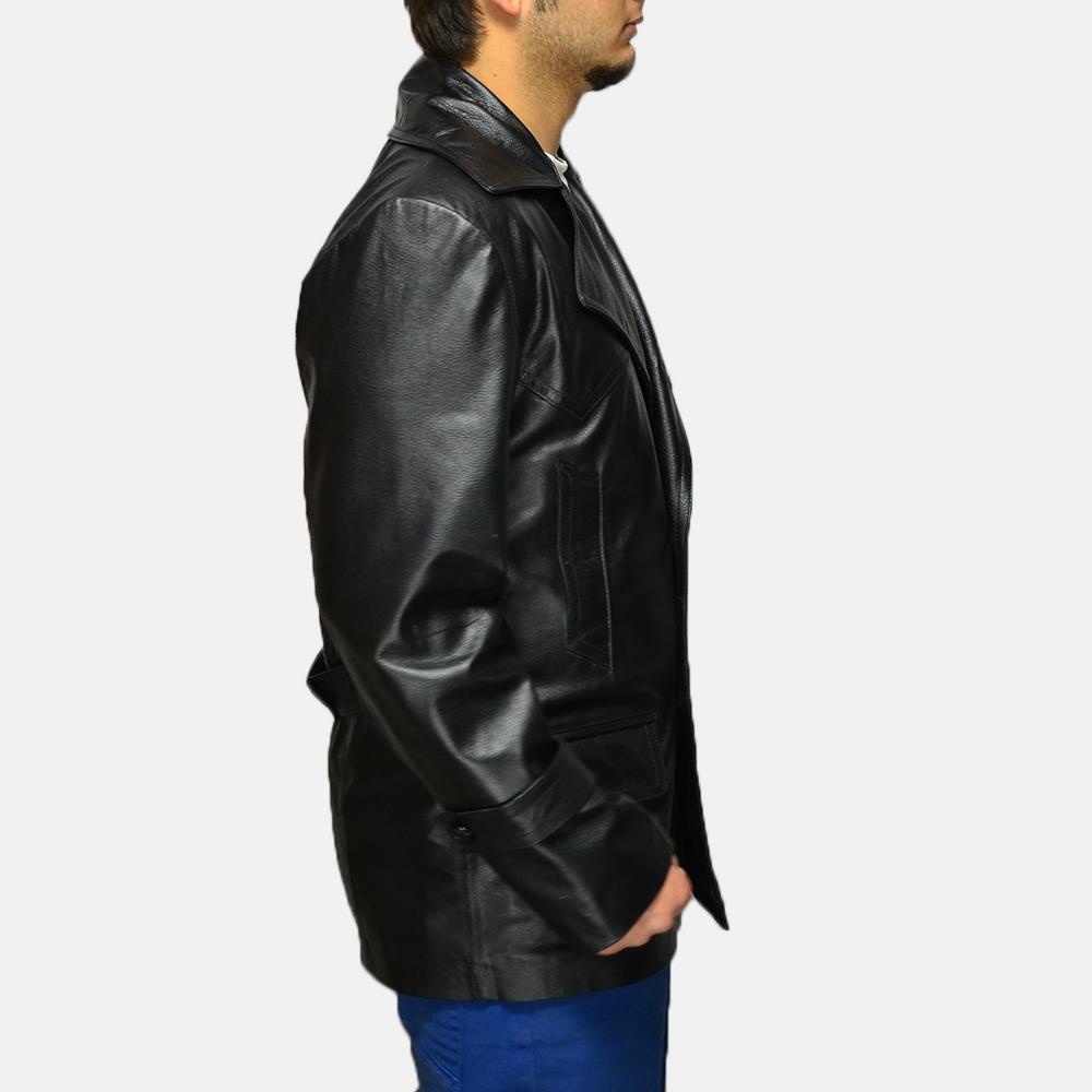 Mens Vegas Black Leather Coat 3