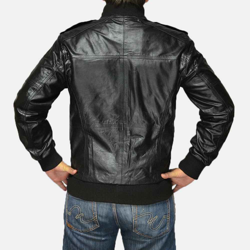 Mens Agent Shadow Black Leather Bomber Jacket 4