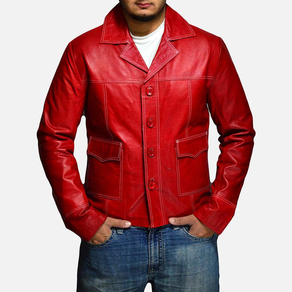 Mens Jarama Red Leather Coat 2
