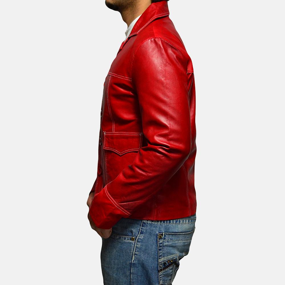 Mens Jarama Red Leather Coat 4