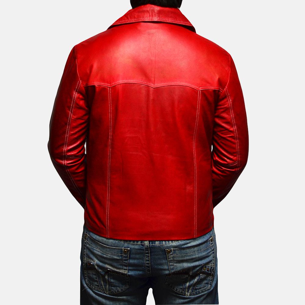 Mens Jarama Red Leather Coat 5
