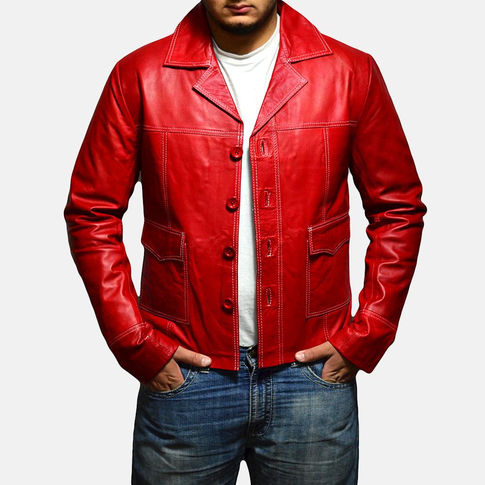 Mens Jarama Red Leather Coat 3