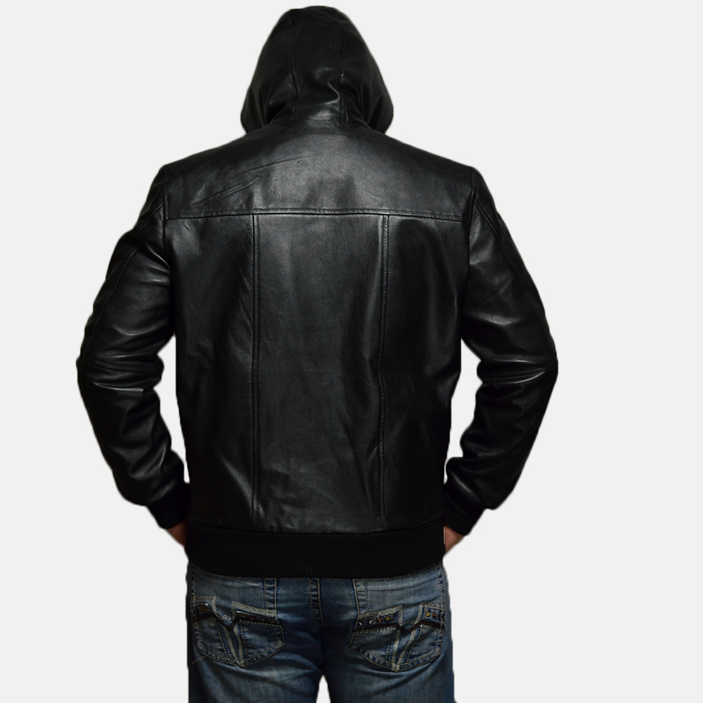 Mens Nintenzo Black Hooded Leather Jacket 3